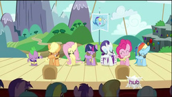 Size: 854x480 | Tagged: applejack, chancellor puddinghead, clover the clever, commander hurricane, fluttershy, hearth's warming eve, hearth's warming eve (episode), mane seven, mane six, pinkie pie, princess platinum, private pansy, rainbow dash, rarity, safe, screencap, smart cookie, spike, twilight sparkle