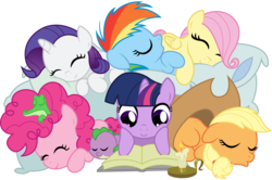 Size: 1747x1160 | Tagged: safe, artist:drawponies, artist:mpnoir, applejack, fluttershy, gummy, pinkie pie, rainbow dash, rarity, spike, twilight sparkle, dragon, earth pony, pegasus, pony, unicorn, .svg available, baby spike, book, candle, cuddle puddle, cuddling, cute, diabetes, eyes closed, female, filly, hat, male, mane seven, mane six, pillow, pony pile, reading, simple background, sleeping, smiling, snuggling, svg, transparent background, vector, weapons-grade cute, younger