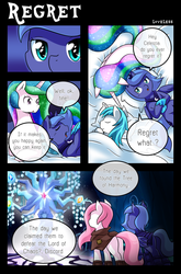 Size: 1500x2268 | Tagged: safe, artist:vavacung, princess celestia, princess luna, tree of harmony, oc, oc:liberty wing, oc:paper mache, bat pony, pony, comic:to love alicorn, bat pony luna, bed, cewestia, cloak, clothes, comic, cute, dialogue, eyes closed, filly, pillow, pink-mane celestia, plot, sleeping, smiling, speech bubble, woona