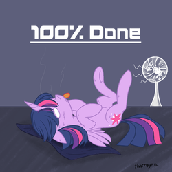 Size: 1000x1000 | Tagged: alicorn, artist:thattagen, fan, female, hot, mare, newbie artist training grounds, overheated, pony, safe, solo, sweat, tired, tongue out, twilight sparkle, twilight sparkle (alicorn)