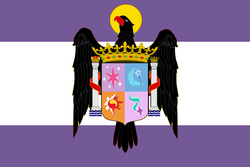 Size: 924x616 | Tagged: safe, artist:3d4d, starlight glimmer, sunset shimmer, trixie, twilight sparkle, pony, unicorn, counterparts, cutie mark, fascism, female, flag, francisco franco, francoist flag, francoist spain, magical quartet, magical trio, mare, spain, twilight's counterparts