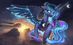 Size: 1280x800   Tagged: safe, artist:rain-gear, princess luna, alicorn, pony, lunadoodle, alternate hairstyle, dawn, flying, glowing mane, glowing wings, moon, solo, sun, twilight (astronomy)