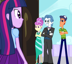 Size: 1024x910 | Tagged: dead source, safe, artist:angelitus01, fancypants, fleur de verre, free throw, twilight sparkle, equestria girls, princess spike (episode), clothes, equestria girls interpretation, equestria girls-ified, monocle, pleated skirt, scene interpretation, skirt, the fresh prince of bel-air