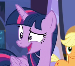 Size: 574x507   Tagged: safe, screencap, applejack, twilight sparkle, alicorn, earth pony, pony, party pooped, spoiler:s05, background pony, chickun, eye twitch, female, frown, mare, mismatched eyes, nervous, open mouth, smiling, solo focus, twilight sparkle (alicorn), wide eyes