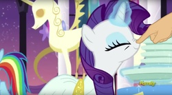 Size: 1671x923 | Tagged: boop, boop edit, clothes, cute, dress, edit, edited screencap, eyes closed, female, finger, glowing horn, hand, levitation, magic, mare, nose wrinkle, pegasus, pony, rainbow dash, raribetes, rarity, rarity investigates, safe, screencap, smiling, solo focus, telekinesis, unicorn