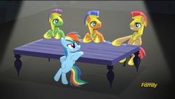 Size: 1920x1080 | Tagged: safe, screencap, rainbow dash, spearhead, pegasus, pony, rarity investigates, lighting, male, royal guard, shading, stallion, table, unnamed pony