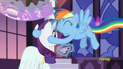 Size: 1920x1076 | Tagged: canterlot castle, clothes, cute, dress, eyes closed, flying, grin, hug, levitation, magic, rainbow dash, rarity, rarity investigates, safe, screencap, smiling, spread wings, telekinesis