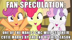 Size: 610x343 | Tagged: safe, apple bloom, scootaloo, sweetie belle, cutie mark, cutie mark crusaders, hilarious in hindsight, image macro, meme, prediction, speculation