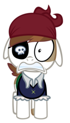Size: 4000x7000 | Tagged: safe, artist:sofunnyguy, pipsqueak, clothes, costume, eyepatch, nightmare night costume, simple background, solo, transparent background, vector, wide eyes