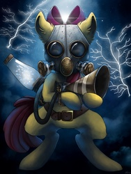 Size: 1536x2048 | Tagged: safe, artist:ibsn, apple bloom, earth pony, insect, pony, twittermite, bloom and gloom, bow, female, filly, foal, hair bow, pest control gear, pest pony, solo, twitbuster apple bloom
