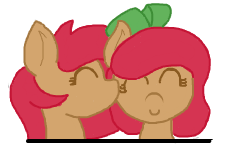 Size: 235x158 | Tagged: safe, artist:lockheart, oc, oc only, oc:cherry sweetheart, oc:stella cherry, cute, diabetes, female, flockmod, incest, kissing, lesbian, shipping, simple background, sisters, twins, white background