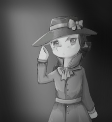 Size: 673x739 | Tagged: safe, artist:shouyu musume, rarity, pony, semi-anthro, rarity investigates, bipedal, detective, detective rarity, grayscale, monochrome, noir, solo
