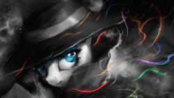 Size: 1920x1080   Tagged: safe, artist:huussii, rarity, pony, rarity investigates, clothes, detective, detective rarity, female, grayscale, hat, mare, monochrome, neo noir, partial color, smiling, solo, wallpaper