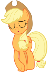 Size: 7000x10700 | Tagged: safe, artist:tardifice, applejack, tanks for the memories, absurd resolution, applejack cries on the inside, cowboy hat, crossed hooves, eyes closed, female, freckles, hat, photoshop, simple background, solo, stetson, transparent background, vector