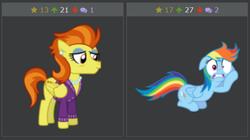 Size: 581x326 | Tagged: safe, rainbow dash, stormy flare, derpibooru, rarity investigates, juxtaposition, meta