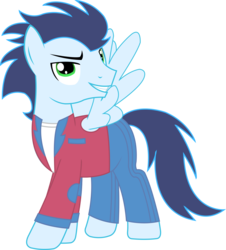 Size: 1351x1492 | Tagged: safe, artist:sketchmcreations, soarin', pegasus, pony, clothes, ed, ed edd n eddy, male, matt hill, over your ed, reference, simple background, solo, stallion, swiggity swag, transparent background, vector, voice actor joke
