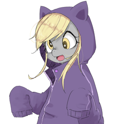 Size: 1000x1000 | Tagged: safe, artist:y0wai, derpy hooves, pegasus, pony, cat hoodie, clothes, cute, female, hoodie, mare, open mouth, parka, pixiv, simple background, solo, white background