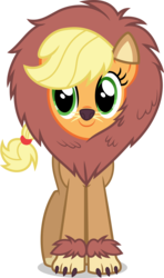 Size: 3000x5068 | Tagged: safe, artist:ambassad0r, applejack, big cat, earth pony, lion, pony, scare master, .svg available, absurd resolution, applelion, clothes, costume, cute, female, jackabetes, mare, nightmare night, nightmare night costume, simple background, smiling, solo, that was fast, transparent background, vector