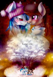 Size: 683x1000 | Tagged: safe, artist:limreiart, dj pon-3, octavia melody, vinyl scratch, fanfic:university days, boots, clothes, crying, fanfic art, female, happy, lesbian, scarf, scratchtavia, shipping, snow, tree