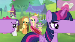 Size: 1280x720 | Tagged: safe, edit, edited screencap, screencap, applejack, bon bon, carrot top, fluttershy, golden harvest, pinkie pie, rarity, spike, sweetie drops, twilight sparkle, alicorn, pony, trade ya, are you frustrated?, female, fimbriae, frown, magic, mare, not dtkraus, not salmon, quill, sad, smiling, telekinesis, twilight sparkle (alicorn), wat