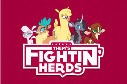 Size: 621x413   Tagged: safe, arizona (tfh), oleander (tfh), paprika (tfh), pom (tfh), velvet (tfh), alpaca, cow, deer, lamb, reindeer, sheep, unicorn, them's fightin' herds, abstract background, community related, logo, red background, simple background