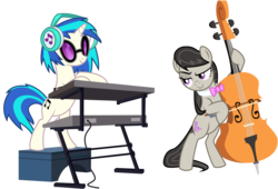 Size: 5000x3390 | Tagged: safe, artist:alicornoverlord, artist:uxyd, dj pon-3, octavia melody, vinyl scratch, earth pony, pony, unicorn, slice of life (episode), .ai available, .svg available, absurd resolution, background pony, bipedal, bow, bow (instrument), bowtie, cello, cello bow, duo, female, headphones, mare, musical instrument, raised eyebrow, simple background, smiling, sunglasses, transparent background, vector