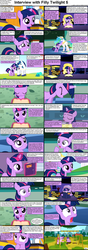 Size: 1282x3661 | Tagged: safe, princess cadance, princess celestia, shining armor, twilight sparkle, alicorn, pony, comic:celestia's servant interview, book, canterlot, caption, comic, cs captions, cute, d:, eyes closed, female, filly, filly twilight sparkle, foal, frown, grin, gritted teeth, happy, head tilt, interview, kite, kite flying, levitation, looking up, magic, male, mare, open mouth, pushing, reading, smiling, stallion, swing, telekinesis, twiabetes, wide eyes, younger