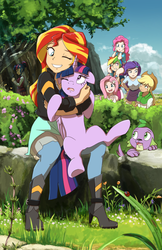 Size: 1430x2210 | Tagged: safe, artist:deannart, applejack, fluttershy, pinkie pie, rainbow dash, rarity, sci-twi, spike, sunset shimmer, twilight sparkle, alicorn, dog, human, insect, ladybug, pony, equestria girls, applejack's hat, behaving like a cat, boots, bracelet, bush, clothes, cloud, cloudy, cowboy hat, crystal prep academy uniform, cuddling, cute, female, flower, glasses, grass, hair bun, hape, hat, high heel boots, high heels, holding a pony, hug, human coloration, human on pony snuggling, human ponidox, humane seven, humane six, humanized, interspecies, lesbian, looking at each other, male, mane seven, mane six, mare, non-consensual cuddling, open mouth, outdoors, paws, photoshop, rock, school uniform, self paradox, shimmerbetes, shipping, shirt, sitting, skirt, smiling, snuggling, spike the dog, spread legs, spreading, stetson, sunsetsparkle, tanktop, tree, twiabetes, twilight sparkle (alicorn), twolight, wall of tags, wink, you're scientifically impossible