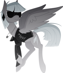 Size: 3569x4130 | Tagged: safe, artist:emkay-mlp, oc, oc only, oc:platinum passion, clothes, jacket, necklace, simple background, solo, sunglasses, transparent background