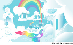 Size: 1720x1081 | Tagged: safe, leak, cloud, cloudsdale, cloudy, concept art, liquid rainbow, rainbow, scenery