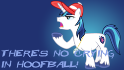 Size: 1600x900 | Tagged: safe, artist:chainchomp2 edit, artist:sailortrekkie92, shining armor, pony, unicorn, a league of their own, hoofball, male, reference, stallion, text, vector, wallpaper