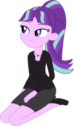 Size: 1275x2168 | Tagged: safe, artist:sketchmcreations, starlight glimmer, equestria girls, blouse, clothes, equestria girls-ified, high heels, kneeling, necklace, simple background, skirt, solo, transparent background