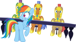 Size: 7179x4000 | Tagged: safe, artist:jeatz-axl, rainbow dash, spearhead, rarity investigates, .svg available, absurd resolution, armor, interrupted, looking back, plot, ponyscape, rainbutt dash, raised hoof, royal guard, simple background, sitting, table, transparent background, vector