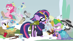 Size: 980x560 | Tagged: safe, artist:dm29, bon bon, derpy hooves, dj pon-3, doctor whooves, gilda, lemon hearts, lyra heartstrings, minuette, moondancer, octavia melody, pinkie pie, rainbow dash, rarity, smooze, spike, sweetie drops, time turner, trouble shoes, twilight sparkle, twinkleshine, vinyl scratch, alicorn, griffon, pony, twittermite, amending fences, appleoosa's most wanted, bloom and gloom, canterlot boutique, castle sweet castle, do princesses dream of magic sheep, make new friends but keep discord, party pooped, princess spike (episode), rarity investigates, slice of life (episode), tanks for the memories, the cutie map, the lost treasure of griffonstone, alternate hairstyle, background six, bowtie, box, cardboard box, clothes, crossing the memes, crying, derpysaur, detective rarity, dress, female, fusion, glasses, hat, i didn't listen, i'm pancake, lyrabon (fusion), mare, meme, new crown, princess dress, punklight sparkle, sled, snow, staff, staff of sameness, sweater, the meme continues, the ride never ends, the story so far of season 5, this isn't even my final form, top hat, twilight scepter, twilight sparkle (alicorn), unamused, volumetric mouth