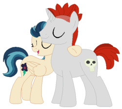 Size: 498x444 | Tagged: artist:berrypunchrules, background human, crimson napalm, equestria girls, equestria girls ponified, female, friendship games, indigo zap, male, ponified, pony, safe, shipping, simple background, straight, transparent background, zapalm