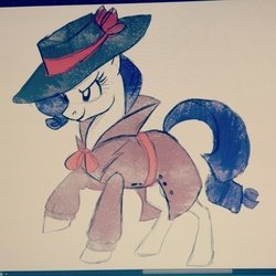 Size: 1280x1280   Tagged: safe, artist:stepandy, rarity, rarity investigates, clothes, detective rarity, hat, solo, traditional art, trenchcoat