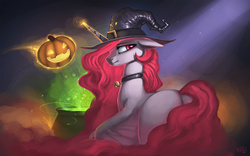 Size: 1920x1200   Tagged: safe, artist:rain-gear, princess celestia, bat pony, pony, vampony, bell, bell collar, cauldron, collar, crepuscular rays, hat, jack-o-lantern, looking at you, looking back, magic, plot, pumpkin, race swap, smiling, solo, sunbat, wallpaper, werelestia, witch hat