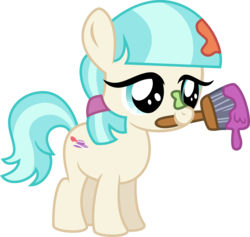 Size: 3660x3468 | Tagged: safe, artist:v0jelly, coco pommel, made in manehattan, .svg available, cocobetes, cute, female, filly, hnnng, mouth hold, paint, paint in hair, paint on fur, paintbrush, simple background, solo, transparent background, vector, weapons-grade cute, younger