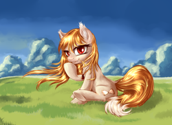 Size: 1920x1400 | Tagged: safe, artist:sapsan, pony, grass, horo, mountain, ponified, scenery, sitting, smiling, solo, spice and wolf, windswept mane