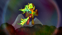 Size: 900x506   Tagged: safe, artist:equie, artist:sapsan, oc, oc only, oc:equie, alicorn, pony, alicorn oc, flying, magic, solo
