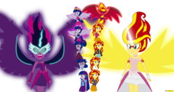 Size: 6538x3477 | Tagged: safe, artist:conikiblasu-fan, sci-twi, sunset shimmer, twilight sparkle, equestria girls, friendship games, my past is not today, rainbow rocks, the science of magic, absurd resolution, bare shoulders, clothes, crystal prep academy, crystal prep academy uniform, crystal prep shadowbolts, daydream shimmer, dress, duo, element of magic, fall formal, fall formal outfits, glasses, lab coat, leather jacket, microphone, midnight sparkle, open mouth, ponied up, school uniform, signature, skirt, sleeveless, strapless, sunset satan, sunset the science gal, twilight sparkle (alicorn), welcome to the show, wings