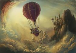 Size: 2560x1785 | Tagged: safe, artist:hunternif, spike, twilight sparkle, dragon, pony, unicorn, canterlot, canterlot castle, cloud, cloudy, duo, female, hot air balloon, male, mare, scenery, sky, speedpaint, steampunk