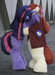 Size: 600x817 | Tagged: safe, apple bloom, twilight sparkle, clothes, cosplay, costume, female, fursuit, irl, kissing, lesbian, photo, shipping, twibloom