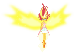 Size: 4980x3500 | Tagged: safe, artist:xebck, sunset shimmer, equestria girls, friendship games, absurd resolution, clothes, daydream shimmer, dress, fingerless gloves, gloves, high heels, horn, looking at you, simple background, skirt, solo, transparent background, vector, wings