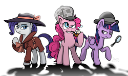 Size: 7998x4798 | Tagged: safe, artist:corsairsedge, pinkie pie, rarity, twilight sparkle, alicorn, earth pony, pony, unicorn, mmmystery on the friendship express, rarity investigates, absurd resolution, bubble pipe, deerstalker, detective, female, hat, magnifying glass, mare, pipe, sherlock holmes, sherlock pie, twilight sparkle (alicorn)