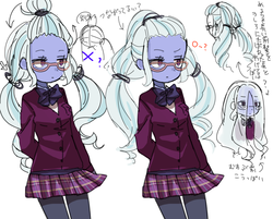 Size: 1000x803 | Tagged: safe, artist:weiliy, sugarcoat, equestria girls, friendship games, alternate hairstyle, clothes, crystal prep academy uniform, eye clipping through hair, female, glasses, hair, hair over eyes, hairstyle, japanese, loose hair, school uniform, simple background, skirt, solo, unamused, white background