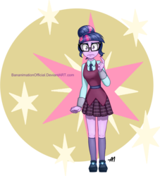 Size: 2163x2380 | Tagged: safe, artist:bananimationofficial, sci-twi, twilight sparkle, equestria girls, friendship games, clothes, crystal prep academy, crystal prep academy uniform, crystal prep shadowbolts, glasses, high res, looking at you, school uniform, signature, skirt, solo