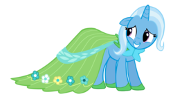 Size: 960x576 | Tagged: artist:ezynell, clothes, cute, dress, female, gala dress, mare, pony, safe, solo, trixie, unicorn