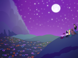 Size: 2000x1500 | Tagged: artist:knadow-the-hechidna, cigar, earth pony, flower, human, lighter, meadow, mink4life, moon, mountain, night, oc, oc:alby roo, oc only, pegasus, pony, ponysona, safe, sky, smoking, stars, topendito, unicorn