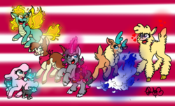 Size: 750x456 | Tagged: safe, artist:sweetheart-arts, arizona cow, oleander, paprika paca, pom lamb, tianhuo, velvet reindeer, alpaca, classical unicorn, cow, deer, lamb, longma, reindeer, sheep, unicorn, them's fightin' herds, abstract background, bandana, cloven hooves, community related, female, fightin' six, glowing horn, leonine tail, puppy, unicornomicon